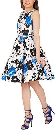 Black Butterfly Robe Années 50 Vintage Serenity Audrey (Blanc & Bleu, FR 50 - 4XL)