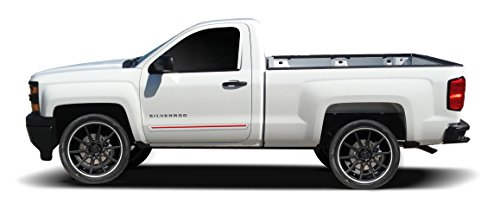 Painted Body Side Molding with Color Insert for Chevrolet Silverado Regular Cab (2014-2016) - Switchblade Silver Metallic (WA636R) with Dark Blue Color Insert (Ci2 Replacement Blades compare prices)