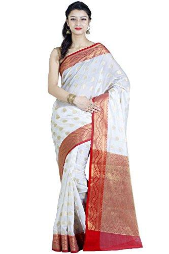 Chandrakala White Banarasi Cotton Silk Saree (White Silk Saree)