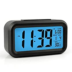 AlleTechPlus Smart Backlight Alarm Clock with Dimmer Multi function and Portable Size (Black with Blue Light)