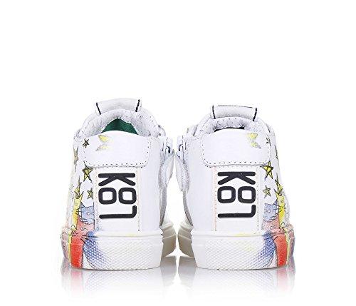 BE KOOL - Weißer Schuh Cats Baby mit Schnürsenkeln aus Leder, von der Welt der Street Art inspiriert, seitlich ein Reißverschluss, Unisex Kinder