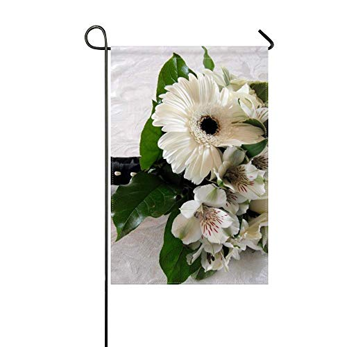 ZLU Garden Flag Gerbera Roses Alstroemeria Bouquet Beautifully 12x18 inches(Without Flagpole)