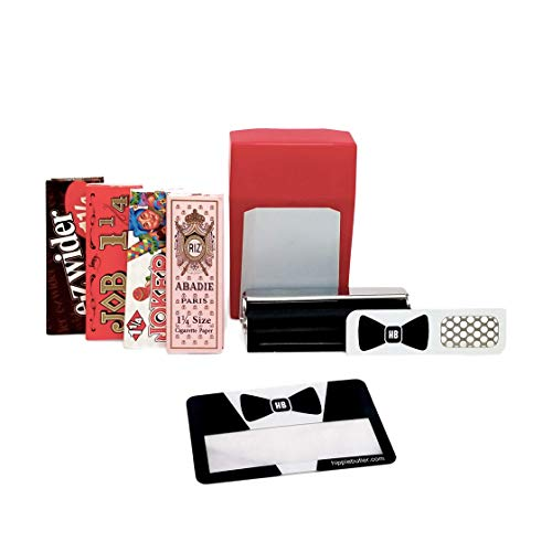 1 1/4 Rolling Paper Assortment (EZ Wider, Job, Joker, Abadie) with 79mm Roller, Plastic Cigarette Case, Hippie Butler Magnifying Scoop Card, and Hippie Butler Grinder Card – 8 Items – Bundle -