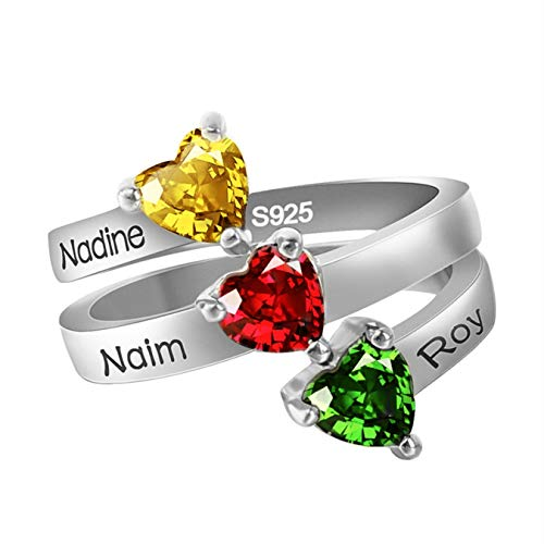 (Personalized 3 Birthstone Infinity Ring Engraved Name Promise Ring)