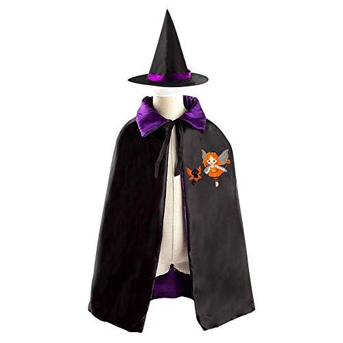 69PF-1 Halloween Cape Matching Witch Hat Fantasy Girl and Cat Wizard Cloak Masquerade Cosplay Custume Robe Kids/Boy/Girl Gift Purple]()