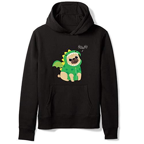 Cute Pug with Dragon Costume Graphic Unisex Hoodies Pullover Streetwear Sweatshirt with Pocket Black M ()