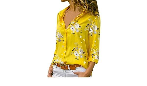 Wave166 Camiseta Básica Mujer Vintage Bohemio Blusa Manga ...