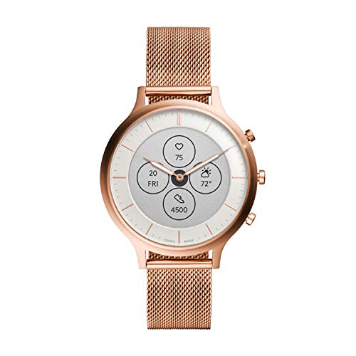 Fossil Women's Charter HR Heart Rate Stainless Steel Mesh Hybrid Smartwatch, Color: Rose Gold (FTW7014) (Fossil Watch Women Heart)