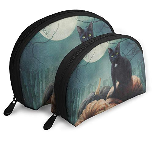 (Makeup Bag Halloween Black Cat On Pumpkin Full Moon Portable Shell Storage Bag For Mother Holiday Pack -)