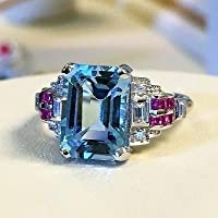 Elegant Women 925 Silver Aquamarine Gem Ring Wedding Engagement Jewelry Sz 6-10 (8)