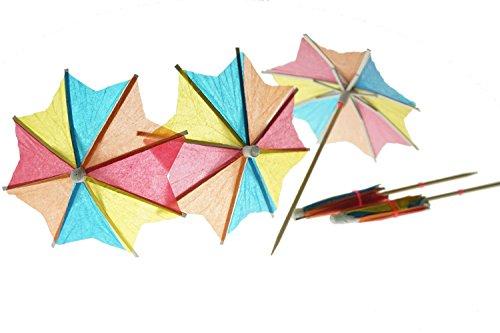 Bilipala 50 PCS Colorful Paper Umbrellas, Cocktail Parasol Picks, Cupcake Toppers Picks