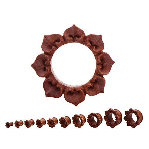 Hand Carved Lotus Flower Double Flared Red Saba Wood Tunnels - Sold as a Pair - Available in Sizes from 0G (8mm) to 1