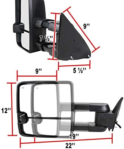 Carpartsinnovate For 88-00 C//K 1500 2500 3500 Tahoe Power Heated Towing Side Mirrors+LED Signal