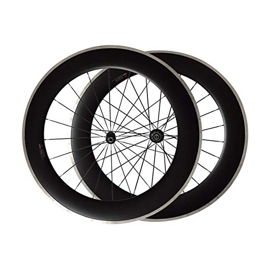 LOLTRA 80mm Clincher Carbon Bike Wheels with Super Light A291SB-SL F482SB-SL Hub and Aluminium Braking Surface(CN494 Spoke)