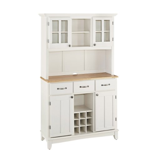 Home Styles 5100-0021-12 Buffet of Buffets 5001 Series Natural Wood Top Buffet Server and Hutch, White Finish