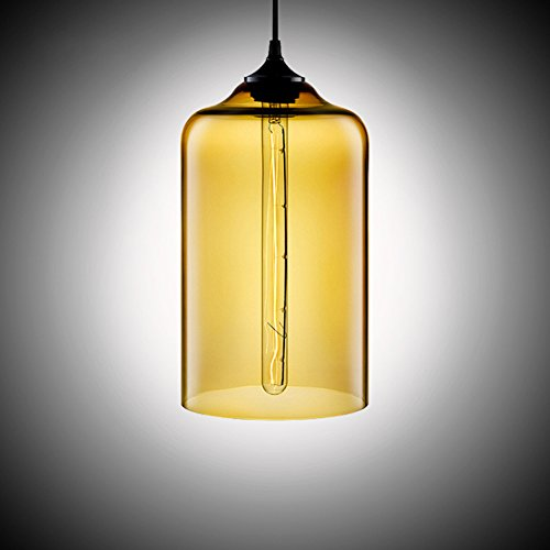 MKLOT Ecopower Edison Minimal 1 Light Pendant Shade Vintage with Amber Glass Shade Straight Glass Shape Hand Blown Art Glass (Vintage Hand Blown Glass)