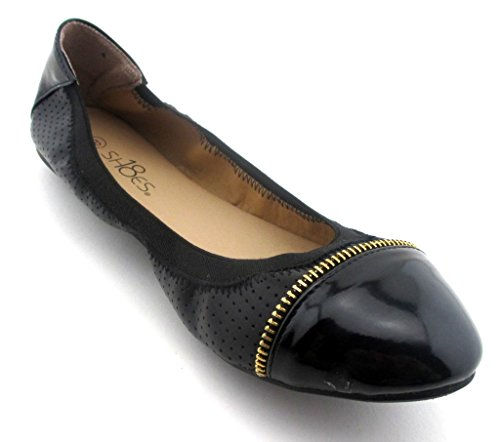 Solids Flat Shoes Shoes8teen Womens Black Ballet 18 amp; Leopards� Shoes Ballerina Zipper wBadqd0XO