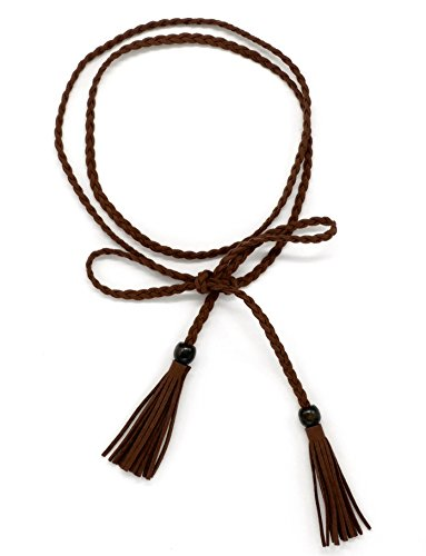 Women Waist Belt PU Leather Waist Chain/ Rope with Tassel Beads Vintage Style 57 inch (dark coffee) 0.5' Wide Leather
