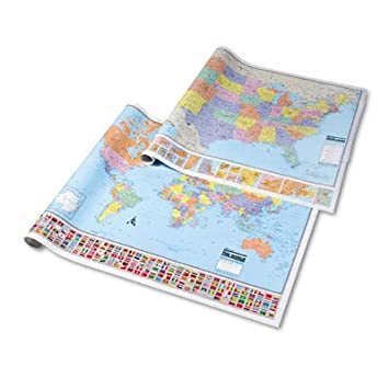 Amazon amm624534 hammond deluxe laminated rolled full color amm624534 hammond deluxe laminated rolled full color physical world map 50w x 38h gumiabroncs Choice Image