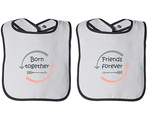 Price comparison product image Born Together Friends Forever Infant Contrast Trim Terry Bib Twin Set White/Black
