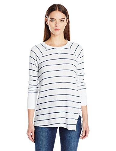 Calvin Klein Performance Women's Distress Wash Stripe Asymmetric Vent Long Sleeve Top, Stonewash Heather Combo, L