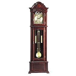 Major-Q 9001402 77 H Traditional Dark Walnut Finish Standing Grandfather Floor Clock
