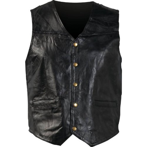 Giovanni Navarre Mosaic Leather Biker Vest Black, Black, L