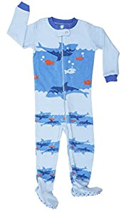 "Elowel Baby Boys footed ""Shark"" pajama sleeper 100% cotton (size 6M-5Years)"