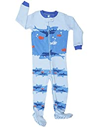 "Elowel Baby Boys footed""Shark"" pajama sleeper 100% cotton (size 6M-5Years)"