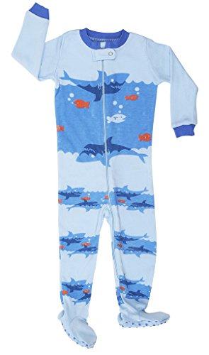 Elowel Baby Boys footed Shark pajama sleeper 100% cotton 5 Toddler