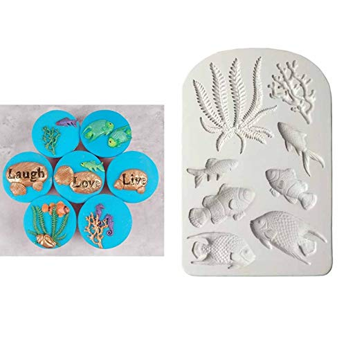 - Fish Candy Mold Fondant Seaweed Shell Fondant Cake Silicone Mold Tropical Fish Chocolate Candy Molds Cookies Pastry Biscuits Mould Cake Decoration Tools