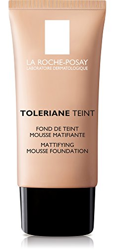La Roche-Posay Toleriane Teint Foundation Makeup Mattifying Mousse for Oily Skin, Sand, 1 Fl. Oz.