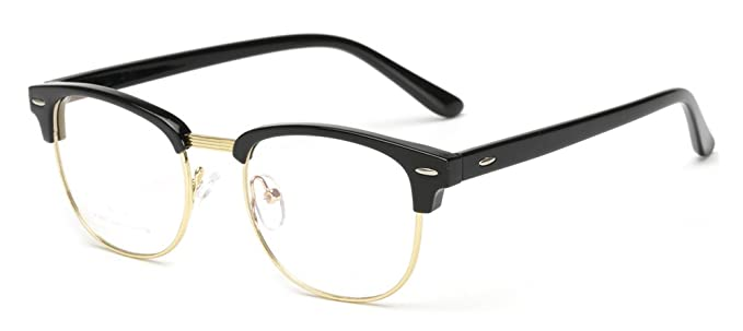 Amazon.com: Outray Vintage TR90 Half Frame Horn Rimmed Prescription ...