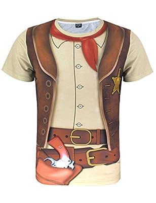 Funny World Men's Western Cowboy Halloween T-Shirts