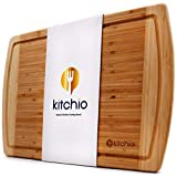 Kitchio Extra Large Bamboo Cutting Board-Lifetime Replacement-Organic Antibacterial Wooden Food Tray with Juice Groove for Serving Carving Chopping Vegetables Bread Meat Cheese - Kitchen Butcher Block