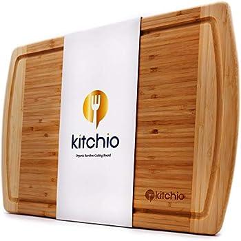 Amazon.com: Tabla de cortar de bambú extragrande con ranura ...