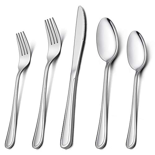 Silverware Set for 12, LIANYU 60-Piece Flatware Cutlery Set, Stainless Steel Tableware Eating Utensils for Large Family Party Restaurant Hotel Wedding, Mirror Finish, Dishwasher Safe