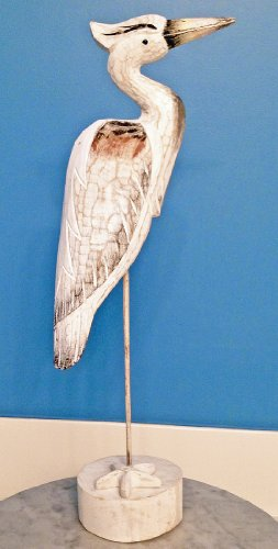 - Coastal Home Decor - Great Blue Heron Wood Carving - Heron Sculpture - Nautical Decor