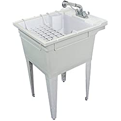 Samson SM-19-FC Floor-Mounted Laundry Tub 22.375-IN W x 26-IN D X 34.75-IN H with Faucet and Accessory Kit, Gray