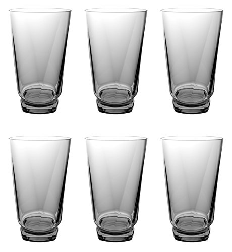 QG 22 Ounce Acrylic Plastic Ice Tea Cup Drinking Glass with Twisted Base Tumbler Set of 6 Smoke Grey