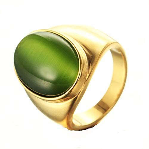 Epinki Mens Accessories Stainless Steel Ring Polished Gold Ring with Light Green Cat Eye Stone Mens Ring Size 10 ()