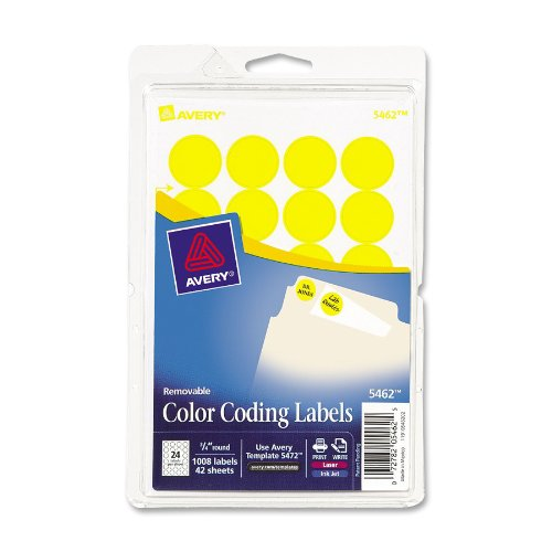 Avery Print/Write Self-Adhesive Removable Labels, 0.75 Inch Diameter, Yellow, 1,008 per Pack ()