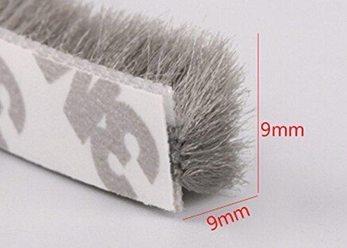(11/32 x 11/32 inch) Weather Stripping Brush, Frameless Adhesive Pile Window Weatherstrip Felt Door Seal Wardrobe Seals 16 Feet (5m) (9mm x 9mm, Gray) by ShangSuRenPin