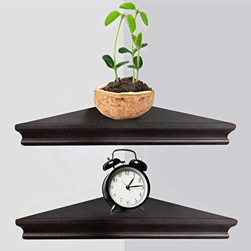 Greenco GRC3163 Corner Floating Shelves with Concealed Hardware Espresso Finish Set of 2