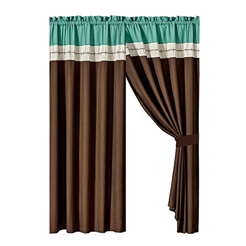 (WPM WORLD PRODUCTS MART 4 Pieces Curtain Set: Beige Coffee Brown Teal Luxury Embroidery Panels Drapes with tie Backs for Western Ranch Cowboy Room Windows- JENA)