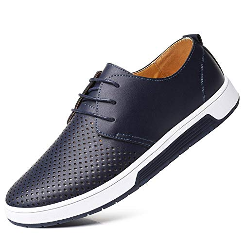Moodeng Men`s Causal Breathable Loafers Classic Flats Shoes Lace Up Urban Fashion Sneakers Blue ()