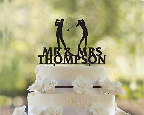 (Golf Cake Topper, Wedding Cake Topper, Golfers Wedding Cake Topper,Party Event Favors)