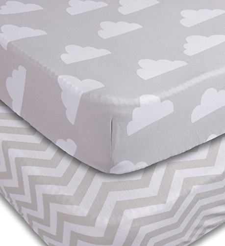 Playard Sheets, 2 Pack Fitted Soft Jersey Cotton Playpen Sheet, Bedding with Unisex Clouds and Chevron Design, Fits Standard Pack n Play Mattress for Babies and Toddlers