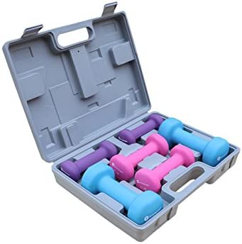 GYMENIST Dumbbell Set with Hard Plastic Case Includes 3 Pairs and A Hard Travel Carry Storage Case 1LB – 2LB – 4LB