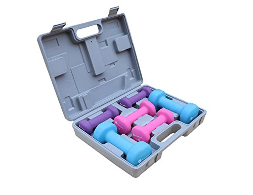 Gymenist Dumbbell Set With Hard Carry Travel Plastic Case Includes 3 Pairs (1LB - 2LB - 4LB)